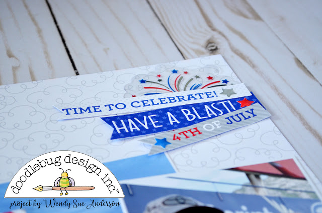 """July 4th layout by Wendy Sue Anderson with the """"Yankee Doodle"""" collection by Doodlebug Design, based on a PageMaps sketch by Becky Fleck"""