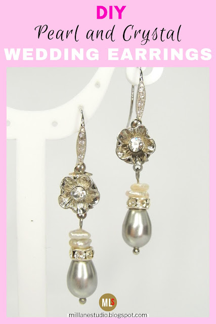 Pearl and Crystal drop earrings inspiration sheet