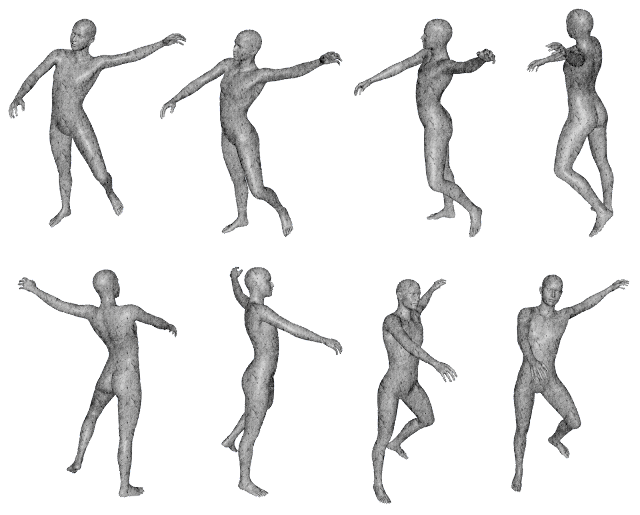 A series of human-like 3D rendered statues performing various motions and poses.