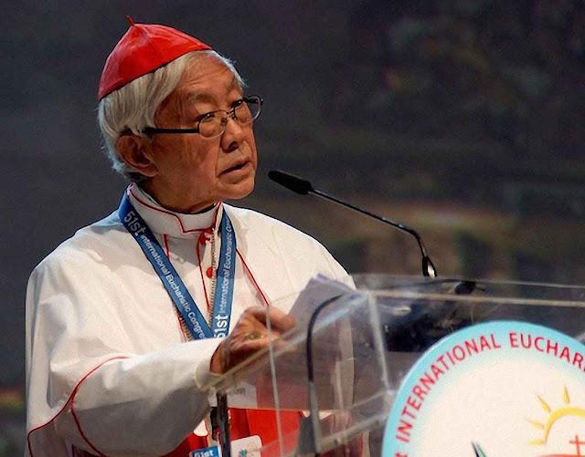 O Cardeal Joseph Zen Ze Kiun falando no Congresso Eucarístico Internacional, em Cebú, Filipinas, 16-01-2016