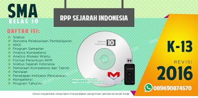 Jual RPP Sejarah Indonesia Kelas 10 SMA Kurikulum 2013 Revisi 2016