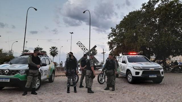 POLICIAMENTO INTEGRADO: Encerramento dos festejos de Santa Cruz dos Milagres conta com a presença de policiais dos GPMs de Saão Félix e Santa Cruz.