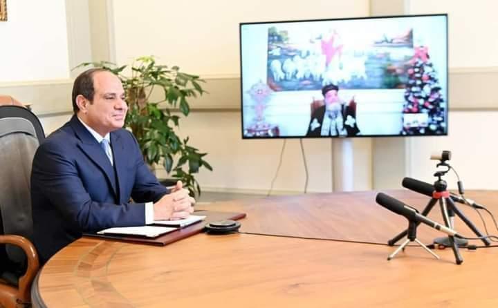 السيسي رئيس جمهورية مصر العربيه يقدم أجمل التهاني للإخوه الأقباط