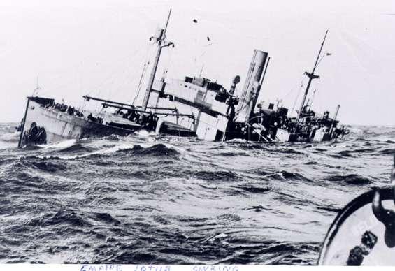 Empire Lotus sinking on 12 April 1942 worldwartwo.filminspector.com