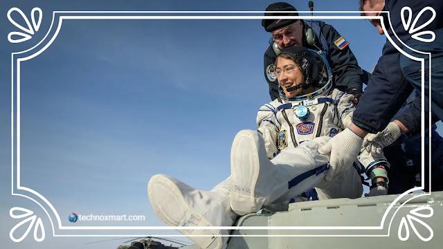 nasa astronaut christina koch,christina koch,nasa,lands to earth,christina koch on earth,nasa astronaut,
