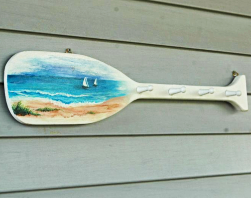 Painted Oar Paddle Wall Rack