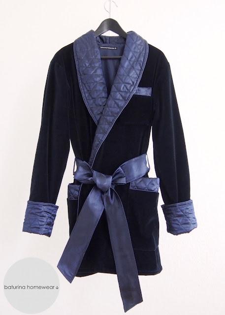 Hausjacke Herren Blau Samt Seide Gesteppt Gefüttert Edel Elegant Englisch Morgenmantel Smoking Jacket