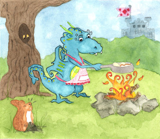 Whimsical Dragon Watercolor Illustration Art