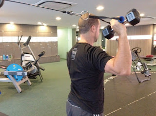 Iso-integration using a dumbbell shoulder press