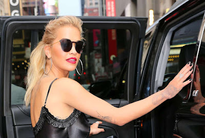 Rita Ora in Black Mini Dress out in New York