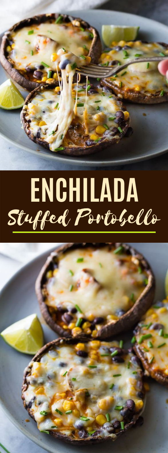 Enchilada Stuffed Grilled Portobello Mushrooms #dinner #vegetarian