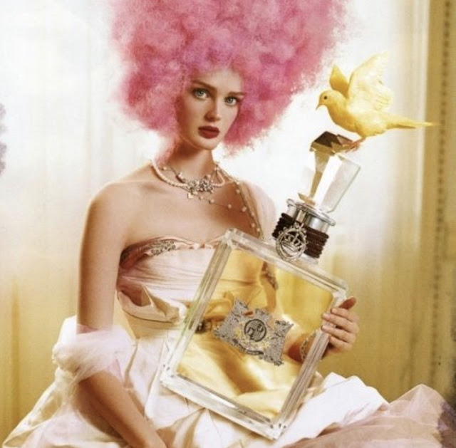 Marie Antoinette pink hair rococo style ad by Tim Walker