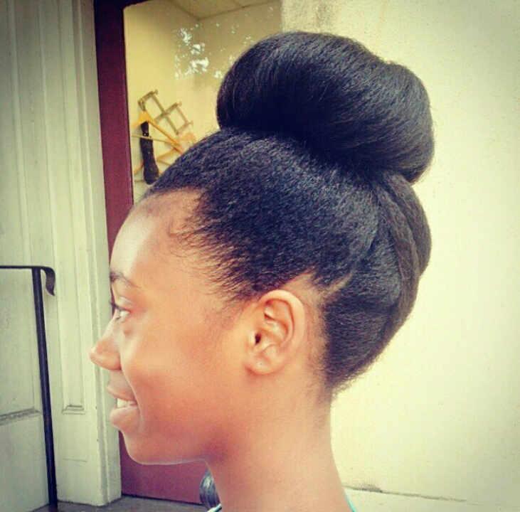 Everyday natural hair updo on a black woman