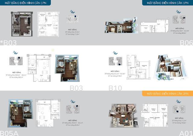 Thiết kế điển hình các căn hộ 02 phòng ngủ
