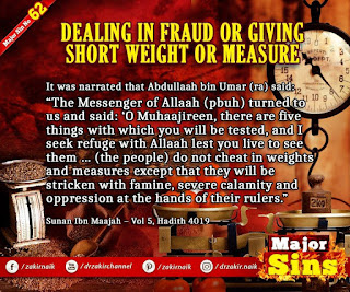MAJOR SIN. 62. DEALING IN FRAUD OR GIVING SHORT WEIGHT OR MEASURE