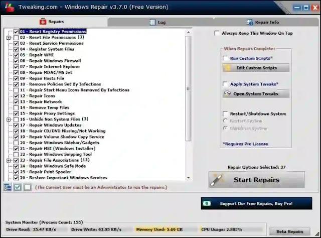 تحميل برنامج اصلاح الكمبيوتر Tweaking Windows Repair مجانا