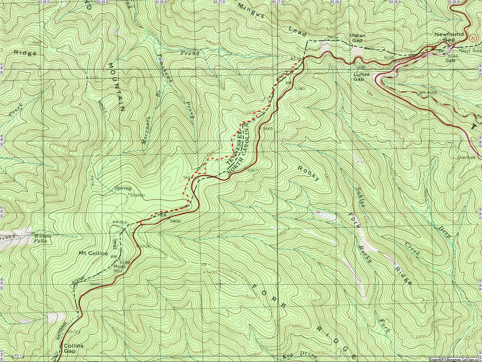 American Travel Journal Fork Ridge Trail To Road Prong Trail At - Appalachian trail topo map