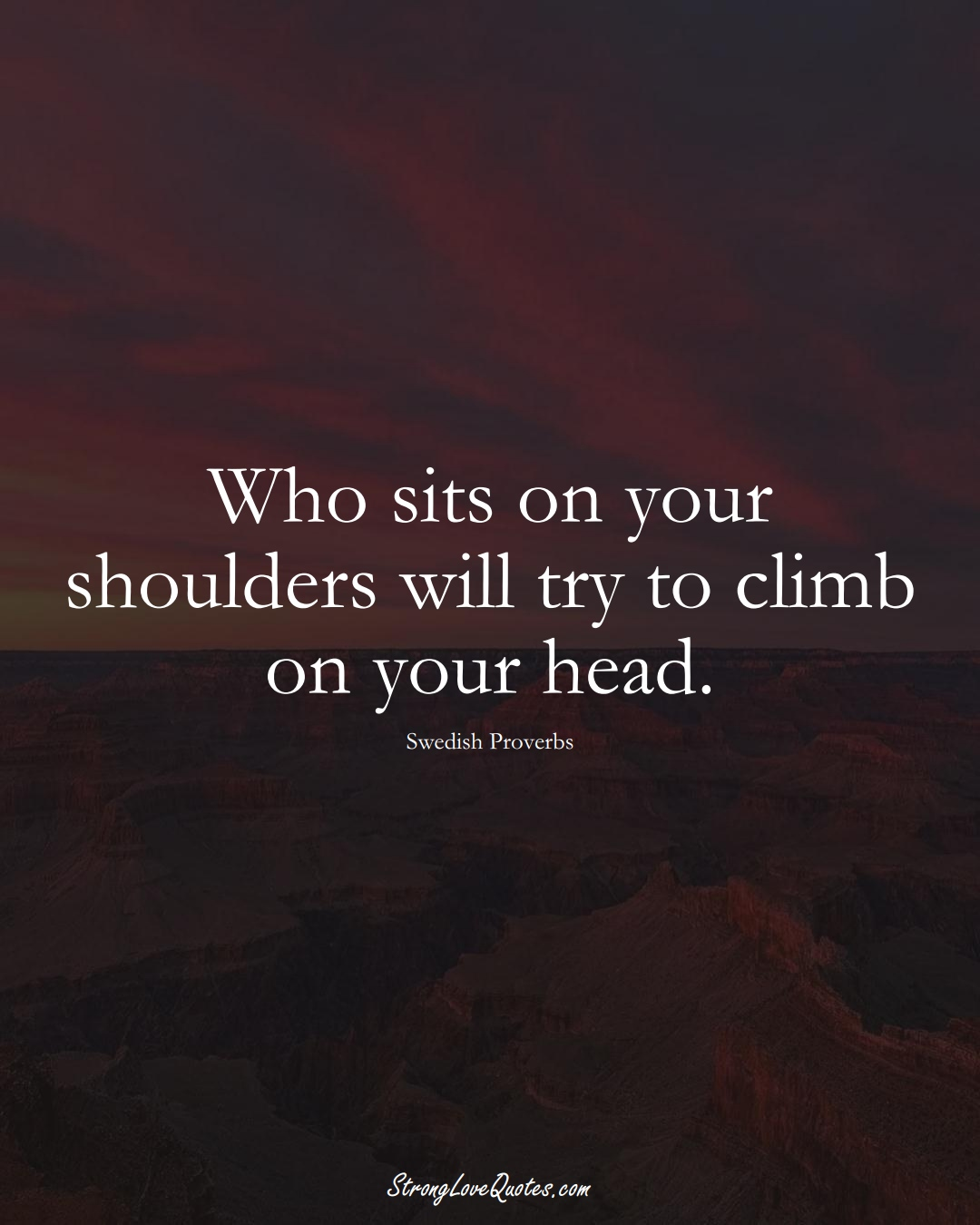 Who sits on your shoulders will try to climb on your head. (Swedish Sayings);  #EuropeanSayings