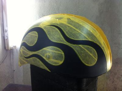 112209686 - カスタムペイント工程  ダックテールヘルメット ブルーフレイムス