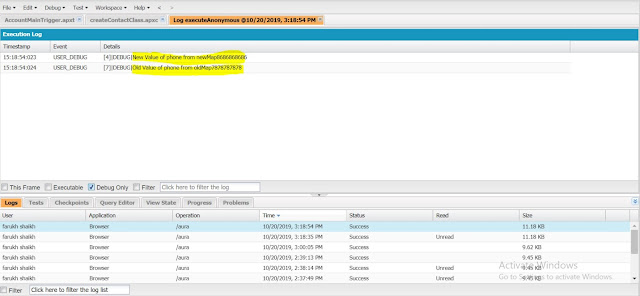 trigger.oldmap and trigger.newmap in salesforce example