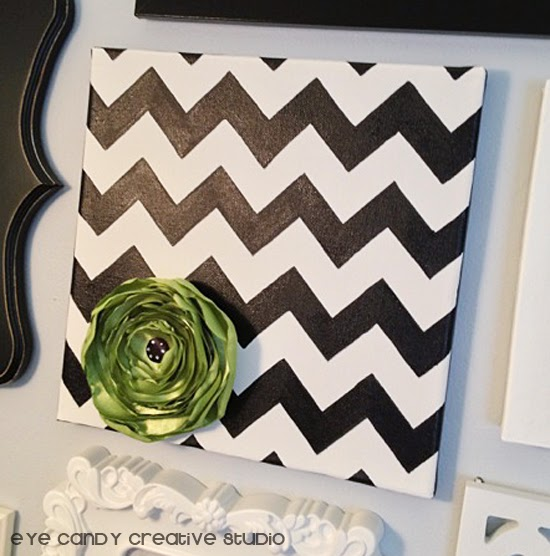 skylar raine art, handmade artwork, black and white chevron, green flower