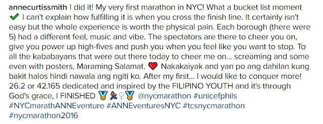 Anne Curtis shares her experience on her first marathon in New York City