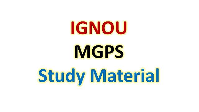 IGNOU MGPS Study Material