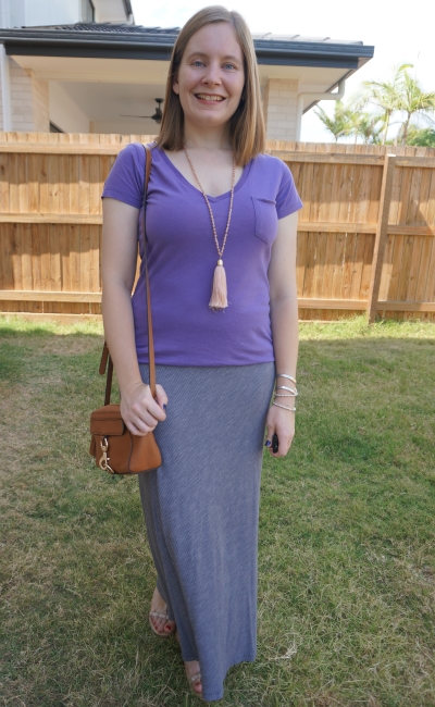 church and shopping outfit purple tee pinstripe maxi skirt tan rebecca minkoff camera bag studded sandals | away from blue