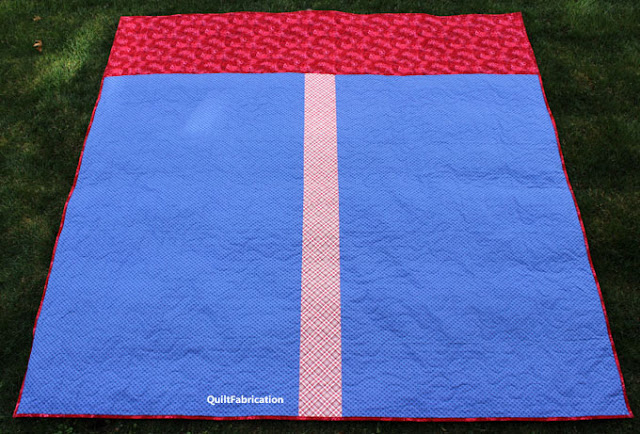 red and blue quilt back