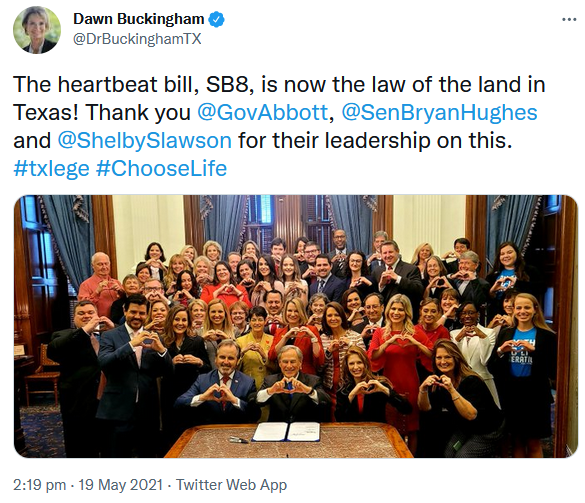 Dawn Buckingham Texas SB8 Heartbeat Act abortion bill signing photo picture
