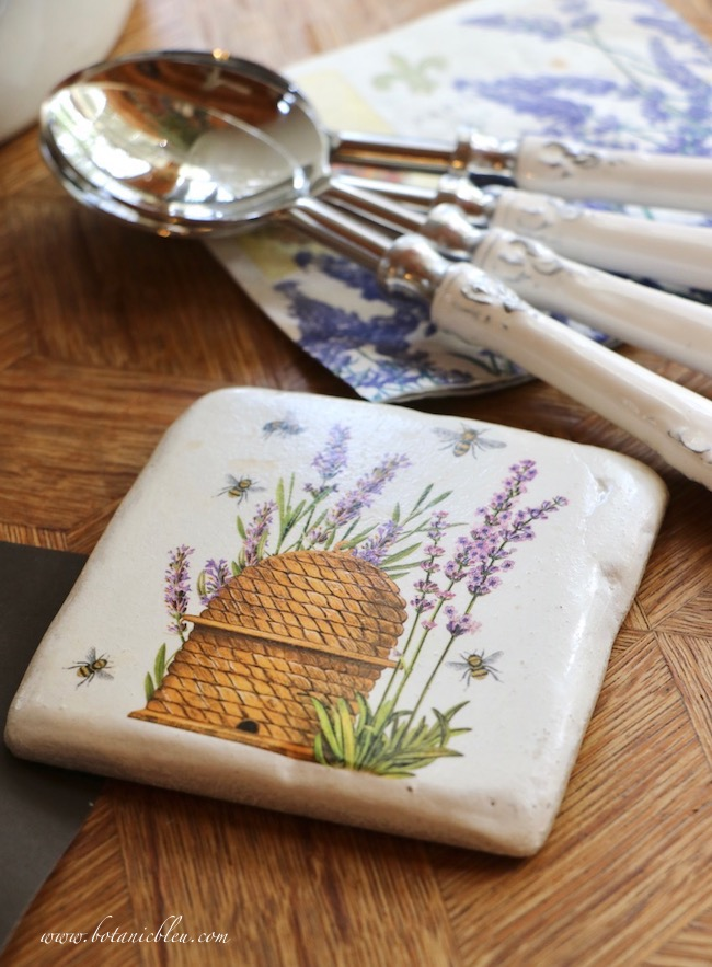 Whimsical Summer Lavender Tablesetting coasters have lavender and bee designs