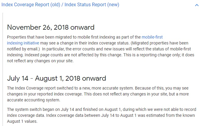 Google Index Coverage Report
