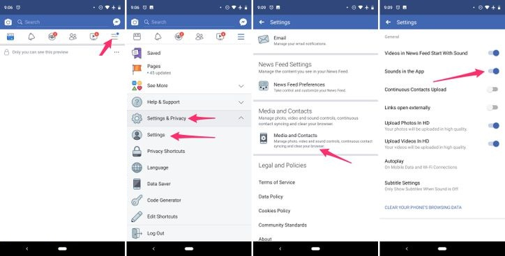 How to turn-off the annoying sounds in the Facebook apps - tech4