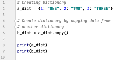 Copy data and create dictionary