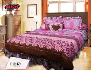 Sprei dan bed cover my love motif Pinky