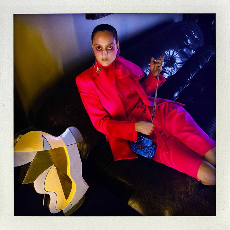 Jess Maybury Shines in Neon for Valentino 'Fluo' Spring 2020 Campaign
