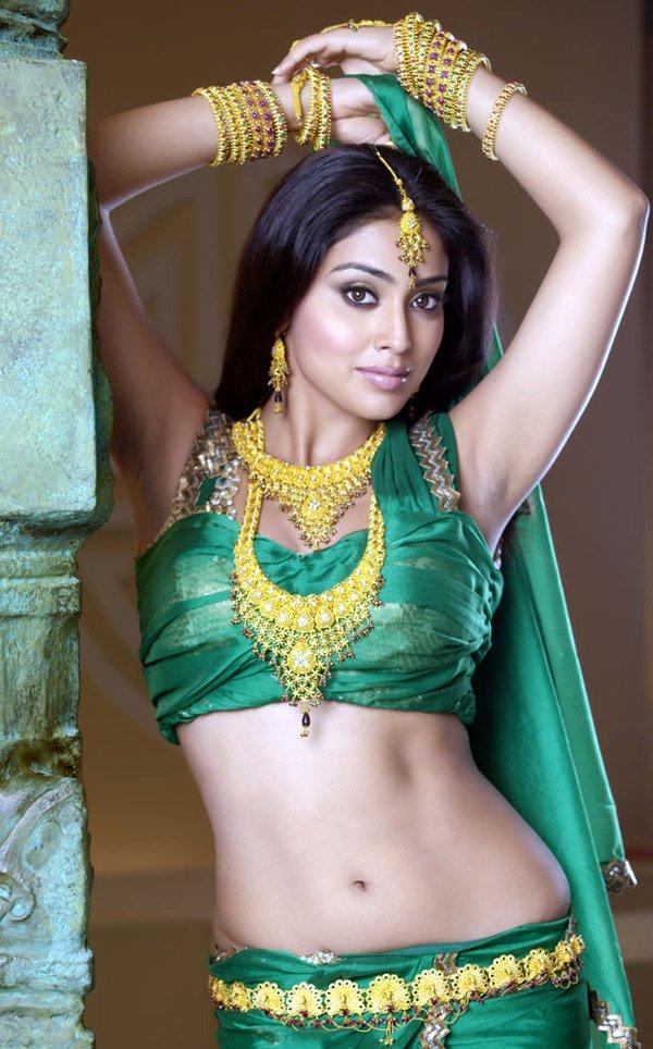 Bollywood Beauty Shriya Saran Hot Armpits Hip Navel Show Photos In Green Saree