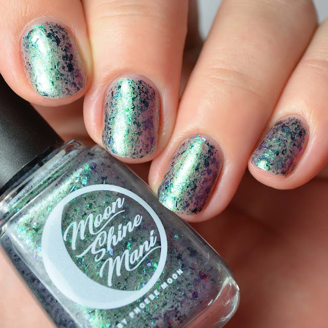 green shimmer flakie nail polish