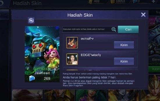 Tips Berbagi Skin Hero Gratis Mobile Legends Kepada Teman-teman Kamu Terbaru