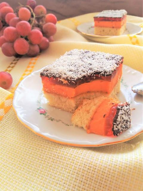 "Ciasto Kubuś z galaretką i czekoladą / 'Kubus"" Cake with Chocolate and Jello"
