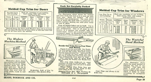 catalog page snippet showing Sears molded cap trim Craftsman stlyle door and window trim in the Sears Building Supplies catalog