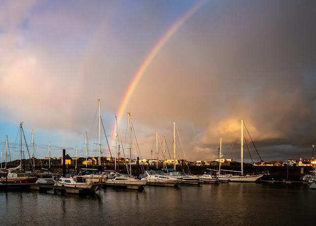 Photo of a rainbow over Maryport Marina