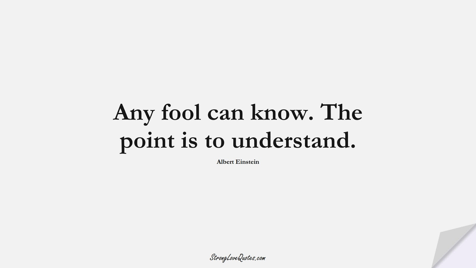 Any fool can know. The point is to understand. (Albert Einstein);  #LearningQuotes