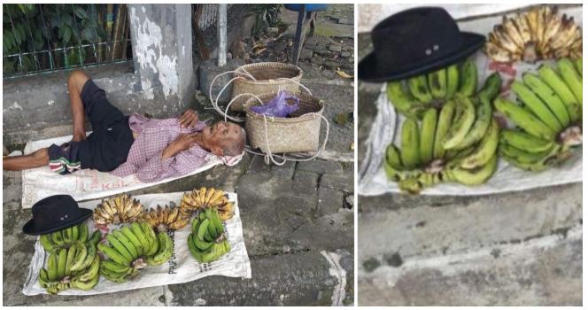 Isang Lolo nakatulog habang nagtitinda ng saging, Pinuri dahil sa kasipagan sa kabila ng edad nito