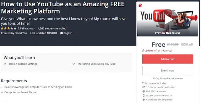 [100% Off] How to Use YouTube as an Amazing FREE Marketing Platform| Worth 199,99$