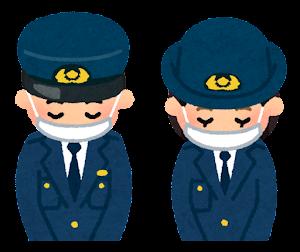 マスクを付けてお辞儀をする人のイラスト(警察官)