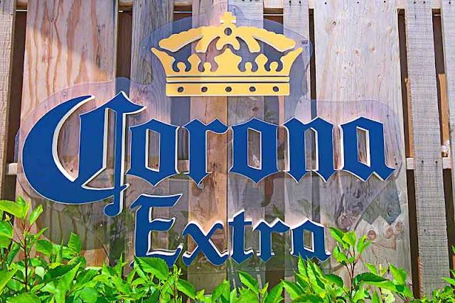 fence, plants, Corona Extra, sign
