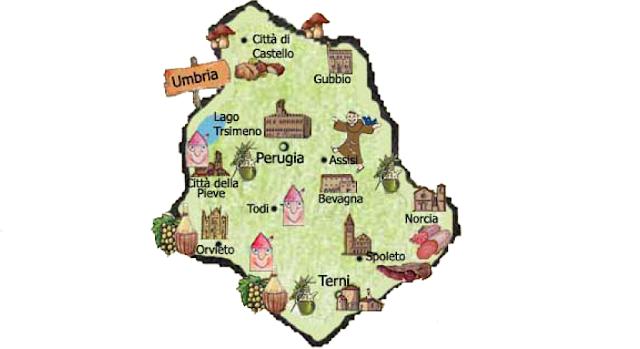 Mapa da região de Umbria