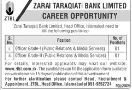 Latest Zarai Taraqiati Bank Limited ZTBL Jobs 2020 For Officers Grade-I & Grade-II