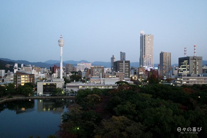 Vue sur Hiroshima et le parc du château d'Hiroshima, Hiroshima-shi